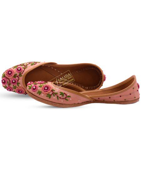 Pink Fulkari Jutti