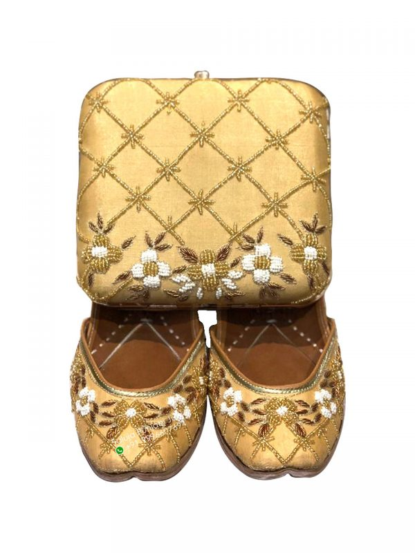 Golden Jutti With Matching Clutch