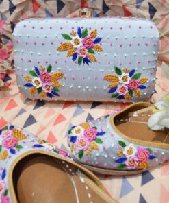 Handcrafted Pure Leather Hand-Embroidered Juttis with Matching Clutch
