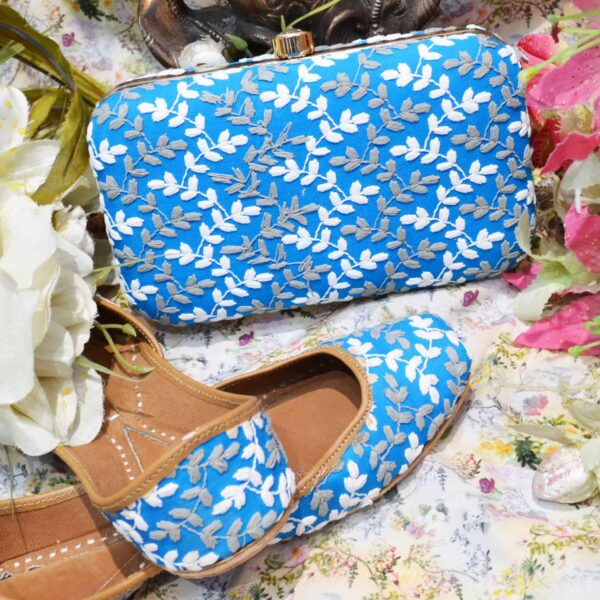 Embroidery Jutti With matching Clutches